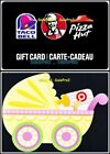 2x TACO BELL KENTUCKY KFC PIZZA TARGET BABY STROLLER COLLECTIBLE GIFT CARD LOT For Sale