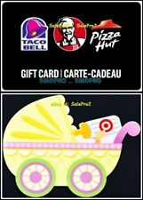 2x TACO BELL KENTUCKY KFC PIZZA TARGET BABY STROLLER COLLECTIBLE GIFT CARD LOT