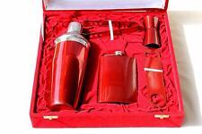 Gift Set Steel Red Color Bar Cocktail Shaker Hip Flask Ice Tong Bottle Opener Pe