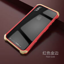 For iPhone X Full Cover Aluminum Metal Bumper Hybrid Tempered Glass Clear Case
