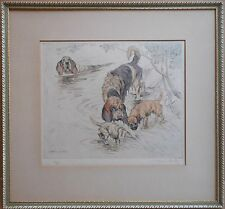 OTTERHOUNDS par George Vernon Stokes RBA, signé, pointe sèche couleur Gravure c1930