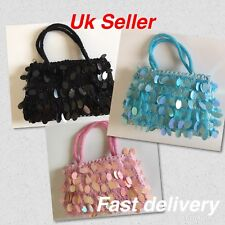UK Seller Black ,pink ,blue Sewn Beads & Sequins Lady Evening Hand Bag