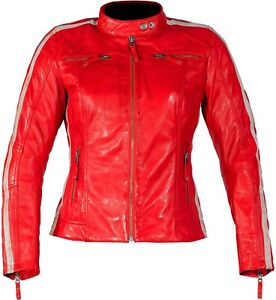 Rusty Stitches Uma Red Women's Jacket Leather Motorcycle Jacket Red White Fitted