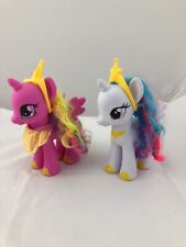 My Little Pony Lot of 2 Pink White Unicorns Wings 2013 Rainbow Colored Hair