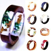 Wooden Flower Resin Ring Plants Inside Band Handmade Jewelry Women Acces