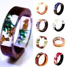 Wooden Flower Resin Ring Plants Inside Band Handmade Jewelry Women Acces
