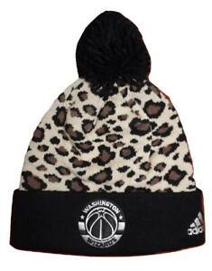 New Washington Wizards Womens OSFA Cheeta Print Cuffed Pom Beanie Hat