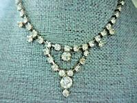 Vintage Clear Rhinestone Silver Choker Necklace