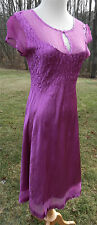 KOMAROV Dress Womens M Purple SS Sheer and Crinkle Fabric Fitted Flare Skirt USA