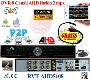 Dvr 8 Canali H264 HDMI Cloud AHD HIBRYD Per iPhone Android Pc P2P wifi 2 mpx top