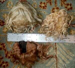 Antique Lot of 3 Doll Wigs Wig for Repair Vintage  P1071
