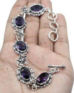 """Purple Amethyst Gemstone 925 Sterling Silver Handmade Jewelry Bracelet Size-7-8"""""""