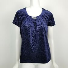 Notations Petites Top Womens Size Small SP Navy Blue Paisley Embossed Velvet New