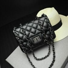 Small Quilted Crossbody Shoulder Bag Chain Clutch Bags Leather Women Plaid Black