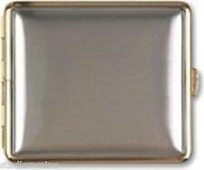 Pitillera / Metal / Cromo cepillado / Borde dorado / Doble cara / 18 Kingsize