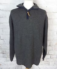 """FAT FACE grey chunky zip neck lambswool blend jumper L large chest 48"""""""