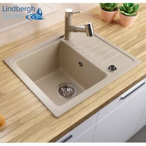 "LINDBERGH® Granit Spüle Beige ""SIM"" Siphon Einbauspüle Küchenspüle Spülbecken"