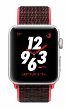 Apple Watch Nike+ 38mm Aluminiumgehäuse in Silber mit Sport Schleife in Bright Crimson/Schwarz (GPS + Cellular) - (MQM92ZD/A)