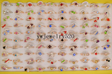 Wholesale Lots of 30PCS Gold Plated Rhinestone Crystal Rings FREE