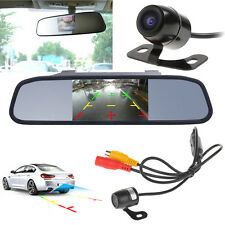"Wired 170° CCD Car Reverse Parking Camera With 4.3"" LCD Rearview Mirror Monitor"