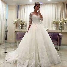Vestidos de Novia White Wedding Dresses A Line Lace Bridal Gown 3/4 Sleeves New