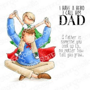 A LITTLE BOY AND HIS HERO-Stamping Bella Cling Rubber Stamp-Craft-Father's Day