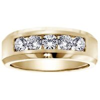 1.00 CT Channel Set Diamond Mens Wedding Ring in 14k Yellow Gold NEW!