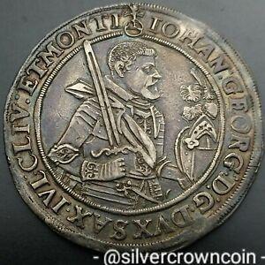 SCC Saxony Albertine Thaler 1623-HvR Swan. Silver Crown Dollar Taler coin. Georg
