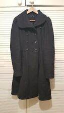Topshop TALL 10 Charcoal Grey Wool Blend Princess Flared Coat Goth Fit and Flare