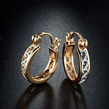 Beautiful 18ct Yellow Gold & Platinum Filled Huggie Style Earrings