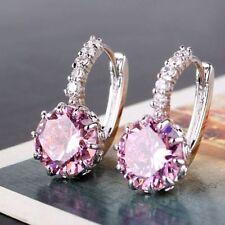 18ct oro bianco riempito Taglio Rotondo Rosa Cristallo Zaffiro Leverback orecchini topazio
