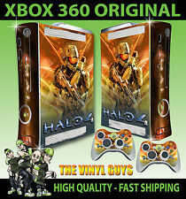 XBOX 360 HALO 4 FIRE CONSOLE STICKER SKIN NEW & 2 PAD SKINS