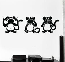 Wall Stickers Three Wise Monkeys Animals Buddhism Japan Vinyl Decal (ig1318)