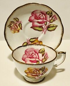 Roslyn England Large Pink Floating Cabbage Rose Heavy Gold Cup & Saucer England