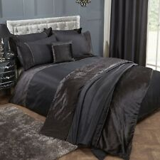 Diamond Velvet Super King Duvet Cover Diamante Bed Quilt Cover Bedding Set Black