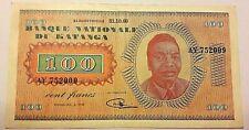 100 FRANCS 1960  KATANGA SUP RARE!! Congo Zaïre Mobutu Zeldzaam P.08a