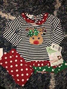 NWT: Baby Girl Bonnie Jean Christmas Outfit. Size 24 Month