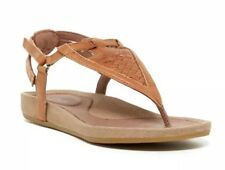 188d656c92c0a3 Teva 9.5M Womens Brown Leather T Strap Flat Sandal