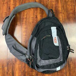 Trans By JanSport BL1889 Black/Grey/Orange One Strap Sling Backpack Bag