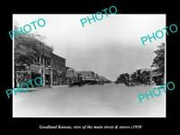 OLD LARGE HISTORIC PHOTO OF GOODLAND KANSAS, THE MAIN STREET & STORES c1930