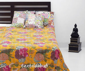 Kantha Quilt Yellow Fruit Indian Cotton Handmade Bedspread Twin Size Gudri Throw