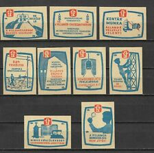 MATCHBOX LABELS-HUNGARY. Safety in electrical industry, set of 9, 1961