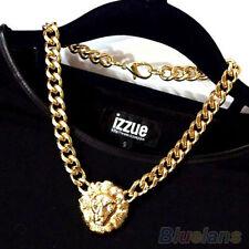 Women's Lion Head Pendant Necklace Charm Golden Chain Choker Nobby Birthday Gift