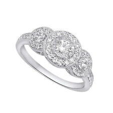 Vintage Ring 14K White Gold Over 1ct Pave Halo Three Stone Diamond Engagement