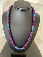 """Stunning Navajo Purple Sugilite Turquoise Bead Sterling Silver Necklace 21"""" 1170"""