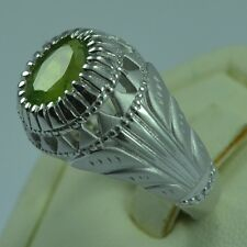 925 Sterling Silver Natural Peridot Gemstone Men Ring Size 11