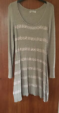 M&S Indigo Ladies Long Sleeve Beige Cotton Blend Jumper Dress, size 8