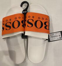 Hugo Boss Men's Graphic Rubber Solar Slid Logo Sandals White/Orange, Size US 8