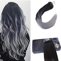 Ugeat Micro Ring Human Hair Extensions Micro Loop Black to Silver Pre Bonded 50g