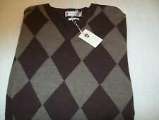 Peter Millar Merino Wool Argyle V-neck Sweater NWT Small $225 Brown